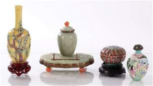 A Group of Four Chinese Porcelain and Jade Decorative