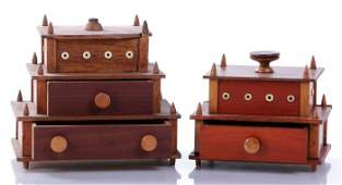 Two Shaker Maple Sewing Boxes 19th Century