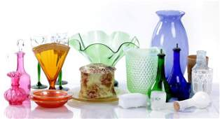 A Miscellaneous Collection of Colored Pressed Glass