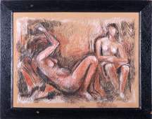 Lorrie Goulet (b. 1925) Nude Female Study, Pastel