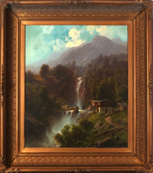 Carl Millner (1825-1895) Landscape with Waterfall, Oil