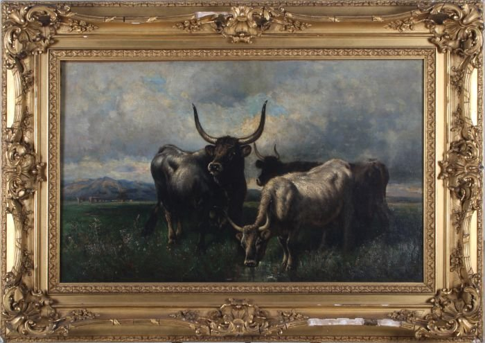 Henry Collins Bispham (American, 1841-1882) Cattle in