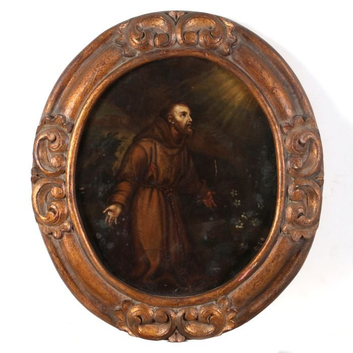 An Oil on Tin Retablo Depicting St. Benedict, 19th
