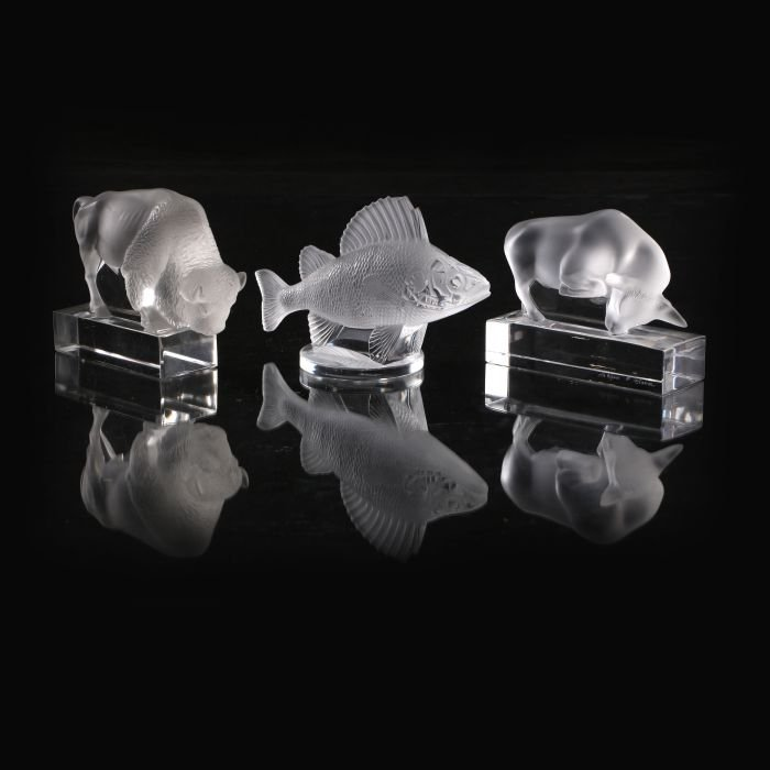 A Group of Three Lalique Frosted Glass Figurines, 20th