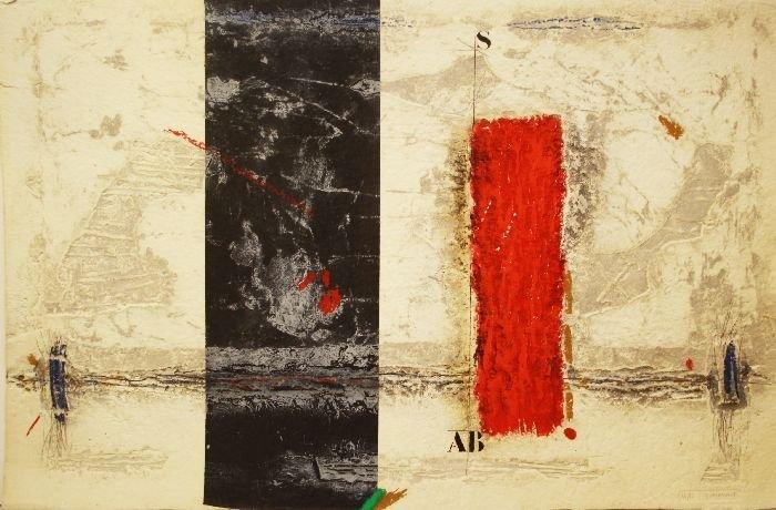 James Coignard (1925-2008) Grey Red, Carborundum