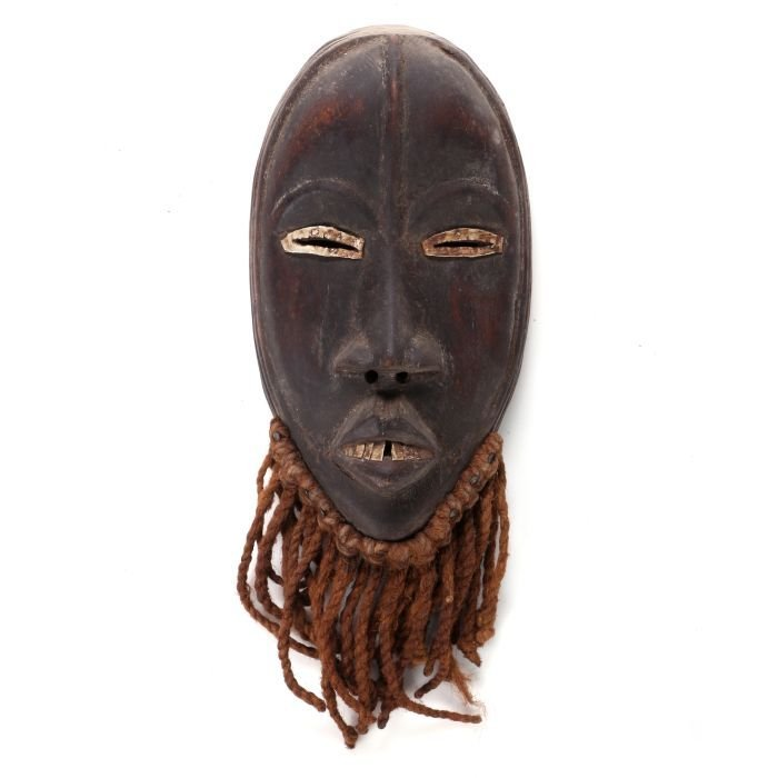 A Dan Tribe Carved Wood, Metal and Fiber Mask, 20th