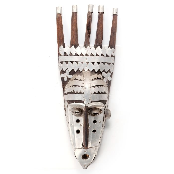 A Carved Wood and Metal Bamana Ntomo Mask, Mali, 20th