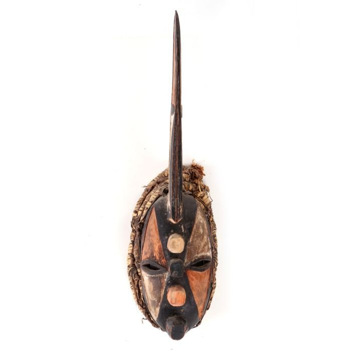 An Igbo Tribe Carved and Painted Wood Horned Mask,