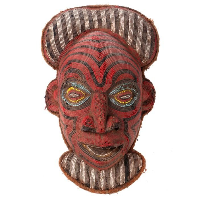 An African Beaded Wood Mask, Cameroon, 20th Century.