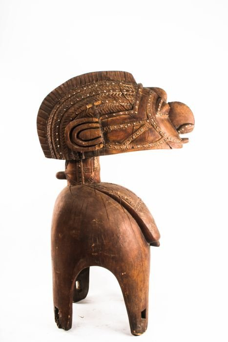 A Baga D'Mba Tribe Carved Wood Fertility Headdress,