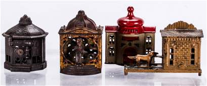 A Collection of Four Cast Iron Mechanical Banks 20th
