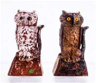 A Pair of Cast Iron Owl (Turns Head) Mechanical Banks