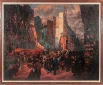 Gaston Prunier (1863-1927) Boulevard a Paris, Oil on