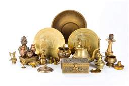 A Miscellaneous Collection of Asian Brass Decorative
