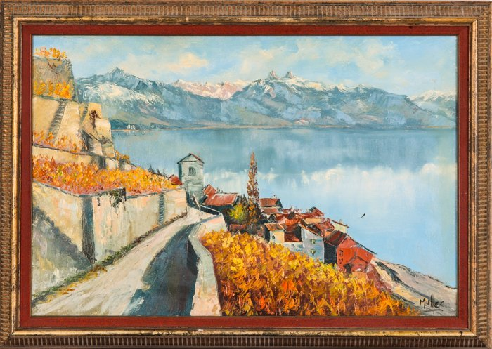Muller (20th Century) Lake View, Oil on canvas,