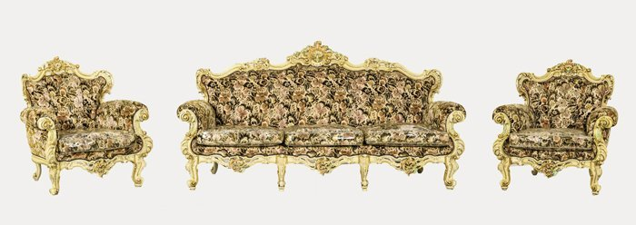 A Suite of Hollywood Baroque Polychrome Painted