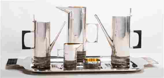 An Alex Styles Seven Piece Silver Coffee and Tea