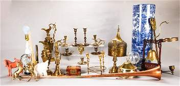 A Miscellaneous Collection of Brass, Wood, Porcelain,