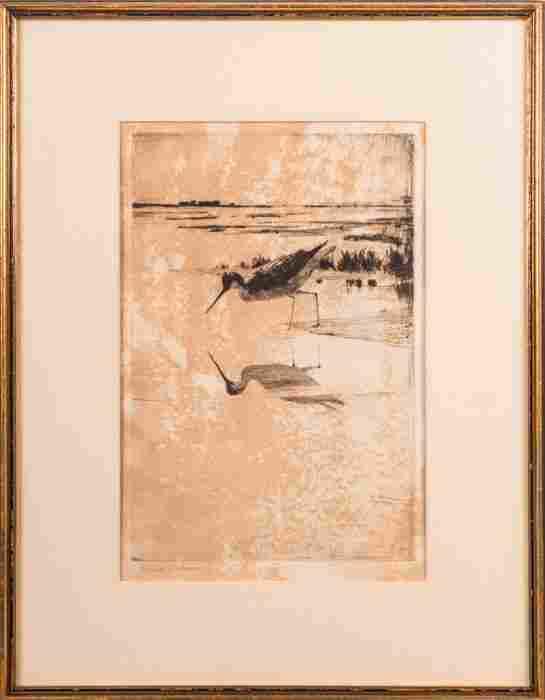 Frank Weston Benson (1862-1951) Sandpiper, Etching,
