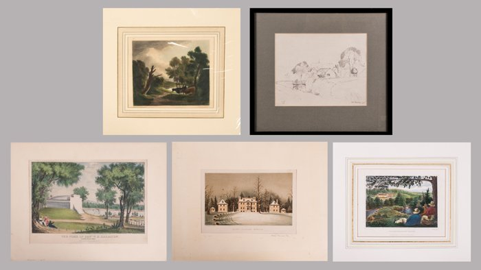 A Collection of Four Colored Lithographs and Etchings