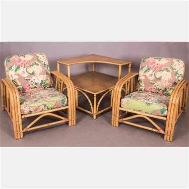 A Pair Of Vintage Ficks Reed Co Rattan Lounge Chairs
