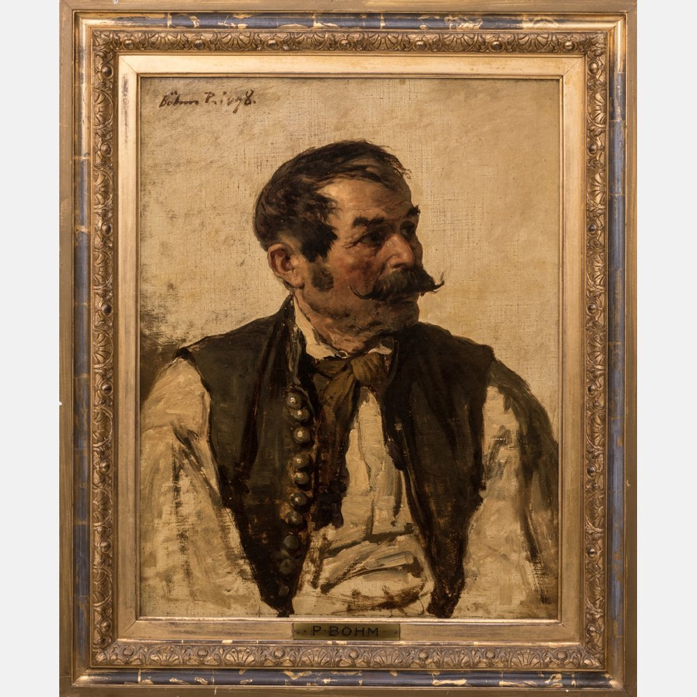 Pal Bohm (1839-1905) Portrait of a Gypsy, Oil on