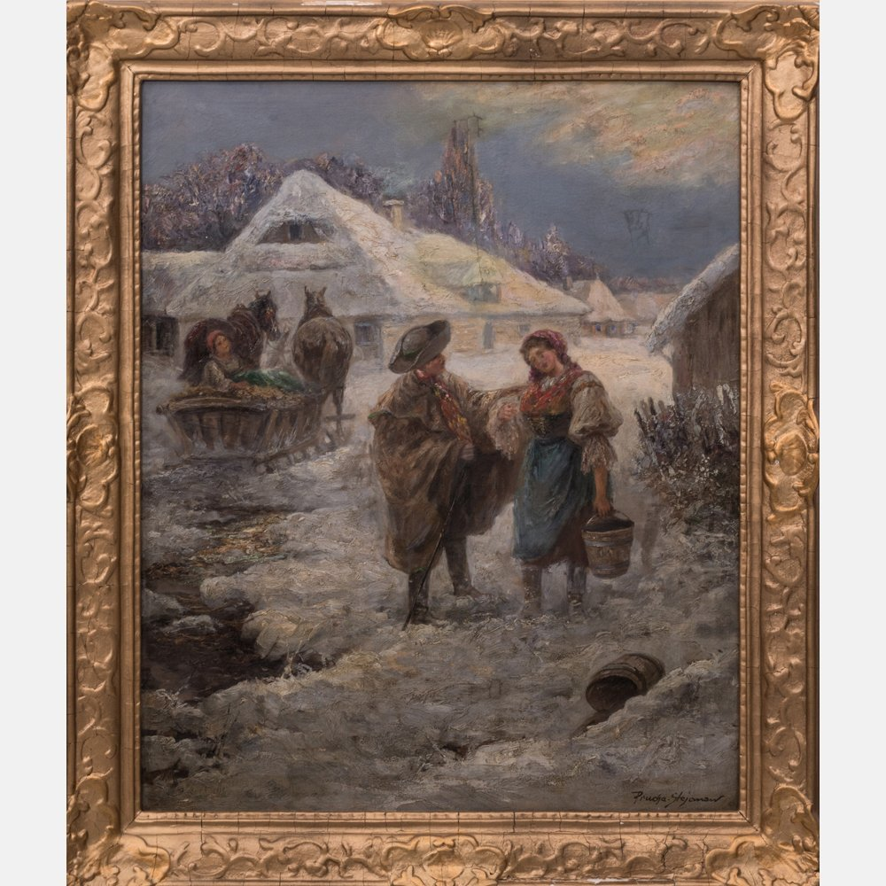 Pjotr Stojanow (1857-1957) Village Winter Scene, Oil on