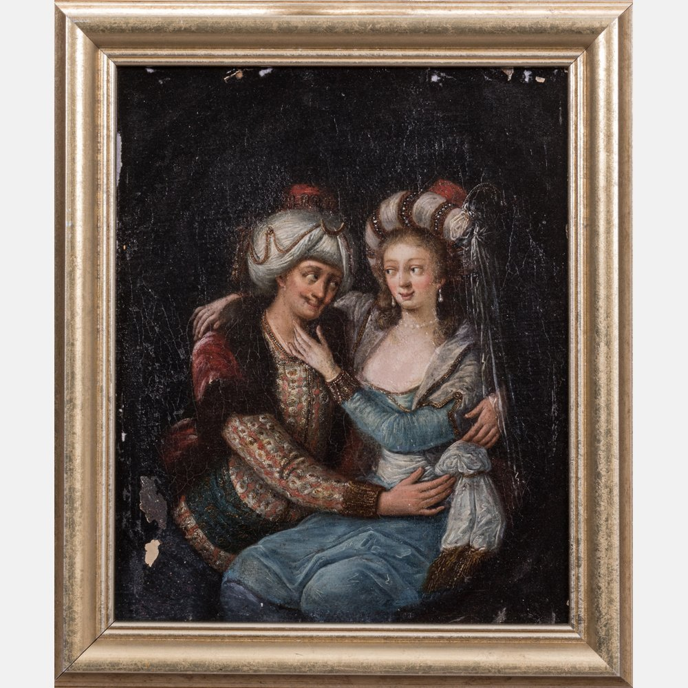 Artist Unknown (18th Century) Persian Lovers, Oil on