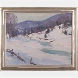 Emile Gruppe (1896-1978) Winter Scene, Oil on canvas,