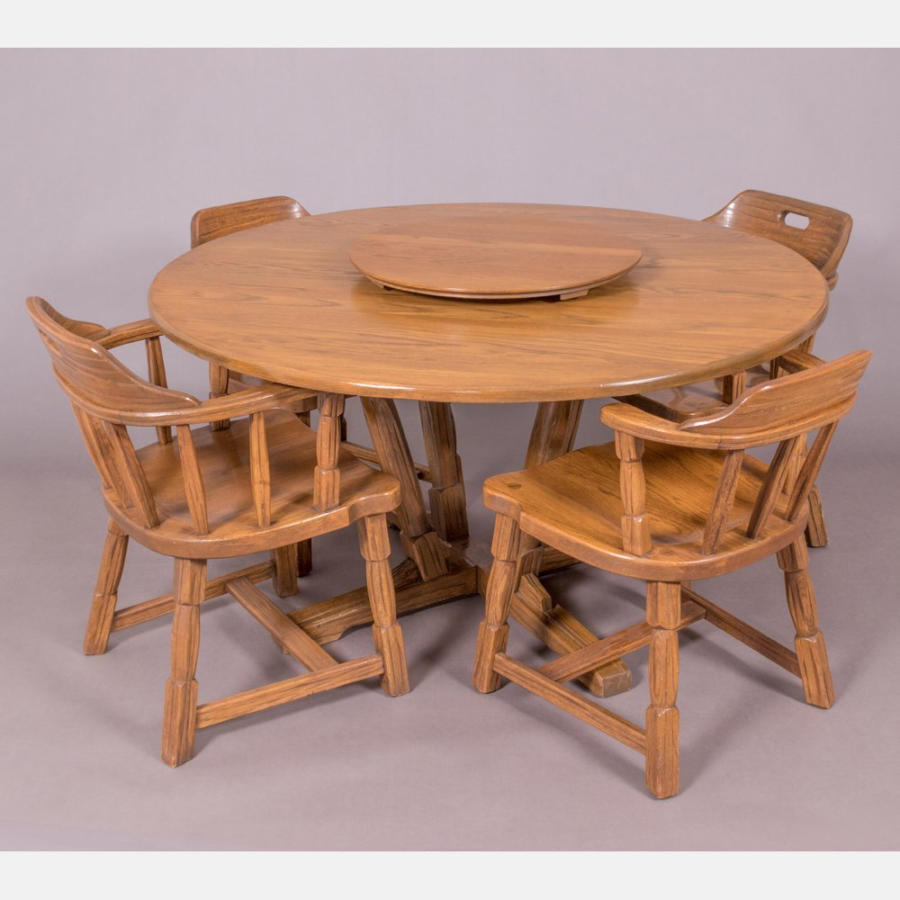 A Brandt Ranch Oak Dining Table with a Lazy Susan