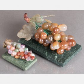 Two Chinese Carved Agate, Quartz, Amethyst And Jade