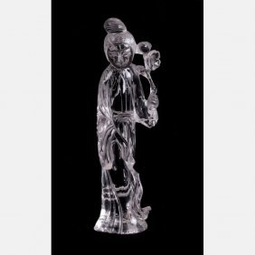 A Chinese Carved Rock Crystal Figure Of Guanyin.