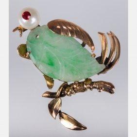 A 14kt. Yellow Gold, Jade, Pearl And Garnet Bird Form