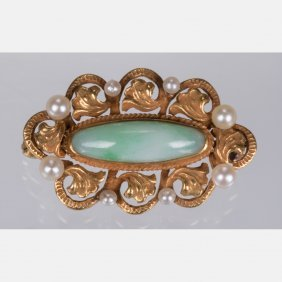 A 14kt. Yellow Gold, Green Jade And Seed Pearl Brooch.