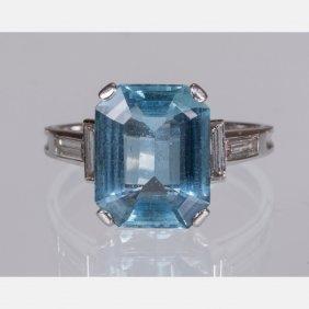 A Platinum And Aquamarine Ring,