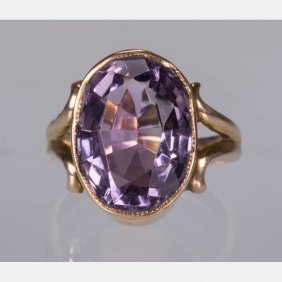A 10kt. Yellow Gold And Amethyst Ring,