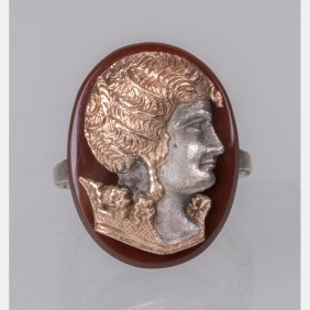 A Silver, Gold Plated And Agate Cameo Ring.