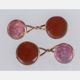 A Pair Of 10kt. Yellow Gold, Rose Quartz And Red Jade
