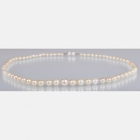A Graduated Cultured Pearl Single Strand Necklace,