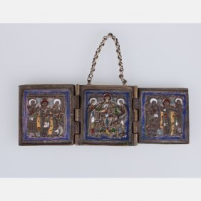 A Russian Orthodox Enameled Bronze Three Panel Folding