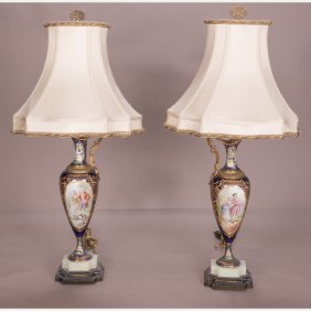 A Pair Of Sevres Style Porcelain Table Lamps