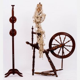 A Carved Walnut Spinning Wheel, 19th Century,