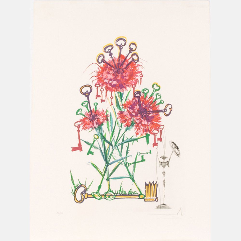 Salvador Dali (1904-1989) Carnation with Keys (Dianthus
