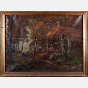 John Semon (1852-1917) Autumn Forest Scene, Oil On