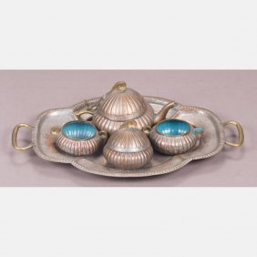 A Chinese Silvered Copper And Enameled Tea Set And