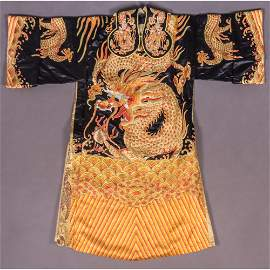 A Chinese Silk Embroidered Dragon Robe, 20th Century,
