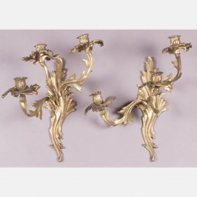 A Pair Of Louis Xv Style Gilt Brass Three Arm Wall