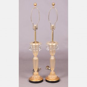 A Pair Of Murano Glass Table Lamps, 20th Century.