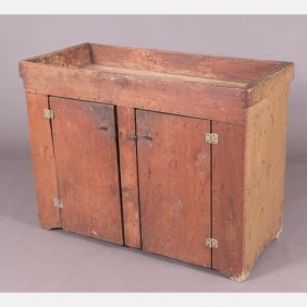 An American Painted Pine Dry Sink With Original Paint,