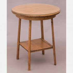 An American Rustic Tiger Maple Circular Two Tier Table,